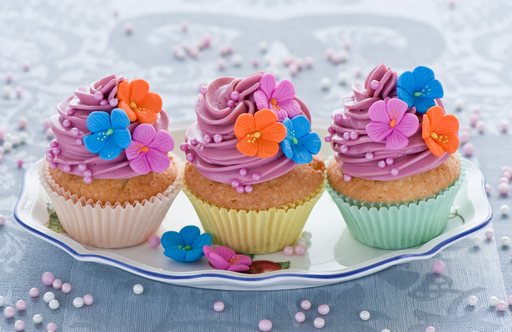 colourful cupcakes with petals