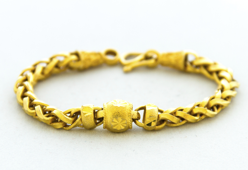 14kt gold bracelets, fancy design