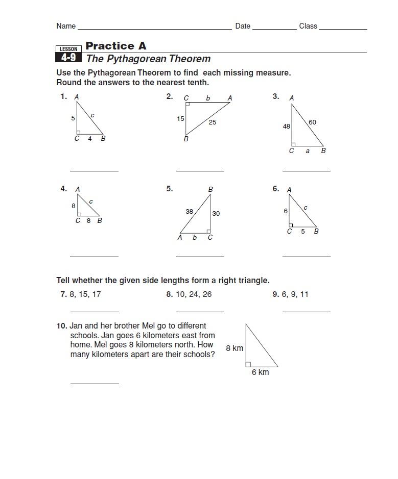 pythagorean theorem worksheet grade 8. Black Bedroom Furniture Sets. Home Design Ideas