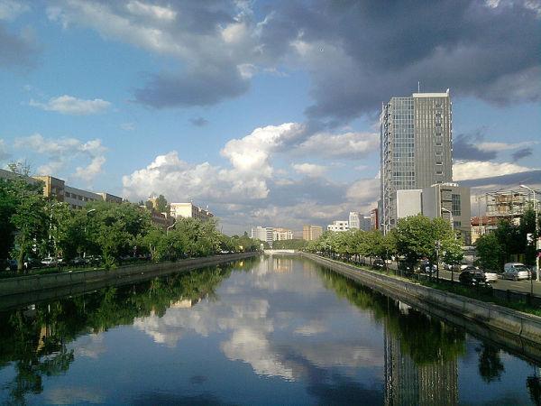 Bucharest business skyline