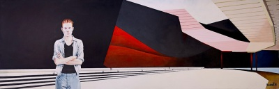 Museum Closed Christmas Day, 2014, $4.000, Acrylic on Canvas, 40 x 120cm,