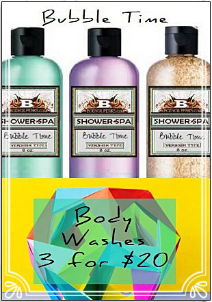 3 different bubble time bottles of shower gel and body washes from Body Oil Perks