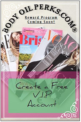 A stack of magazines in array for Body Oil Perks reward program for V.I.P Customers