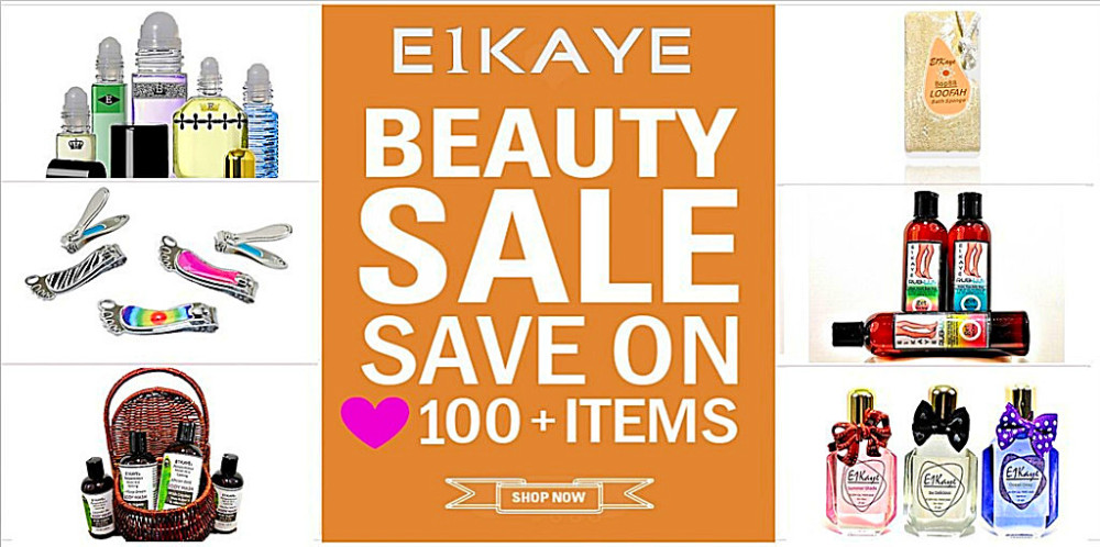 A promotional banner of E1Kaye Beauty Sale categories such as body lotions, perfumes, nail clippers.