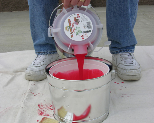 Metal bucket w red paint