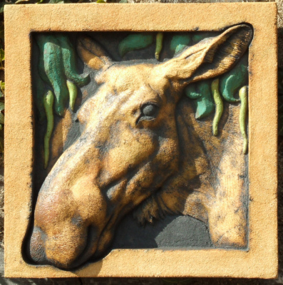 moose, bas releif, 2D ceramic sculpture, moose art, crack willow, moose cow, wildlife art, wildlife sculpture.