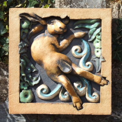 Hare sculpture, wildlife art, bas relief sculpture, Hare in the lane, hare sculpture by Ama Menec.