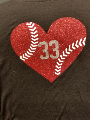 Heart 33 Baseball Stitch-Glitter Vinyl