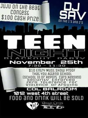 Teen Night All Black Out Party