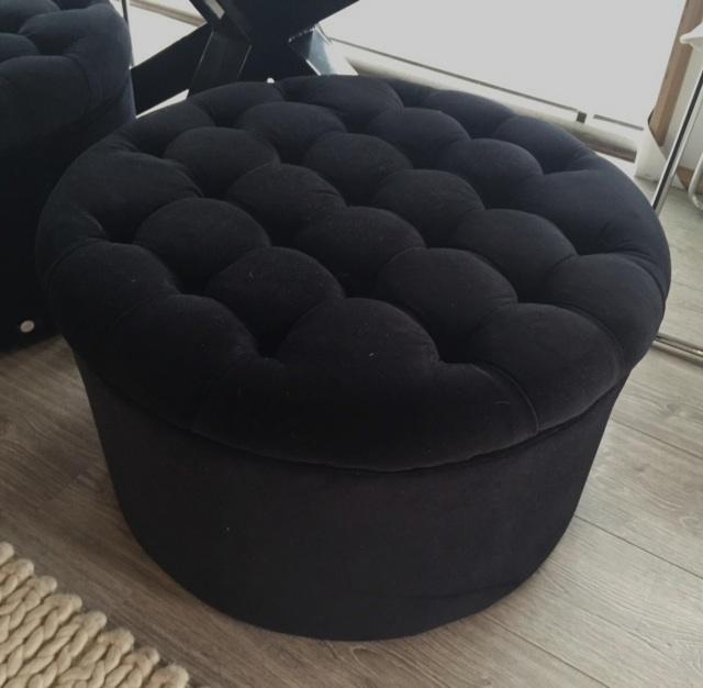 Black velvet round ottoman
