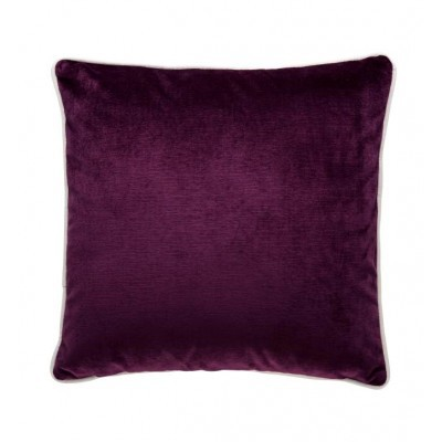 Velvet cushion with white piping