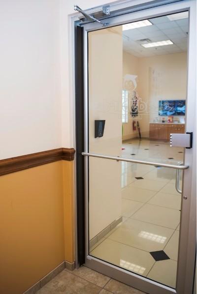 Metal, wood, or steel doors with pushbar.