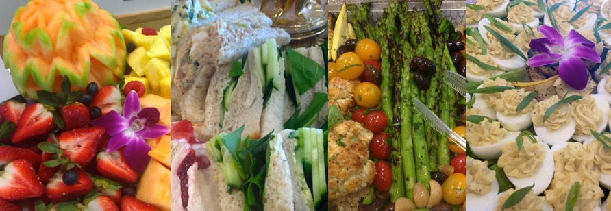 Fruit, Tea Sandwiches, Grilled Vegetables, Deviled Eggs