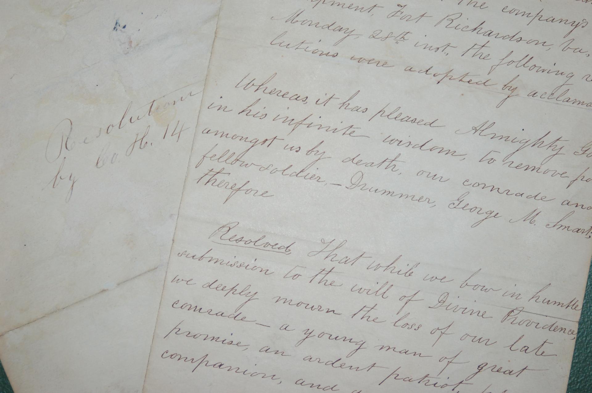 Regimental Resolution upon the death of George Smart