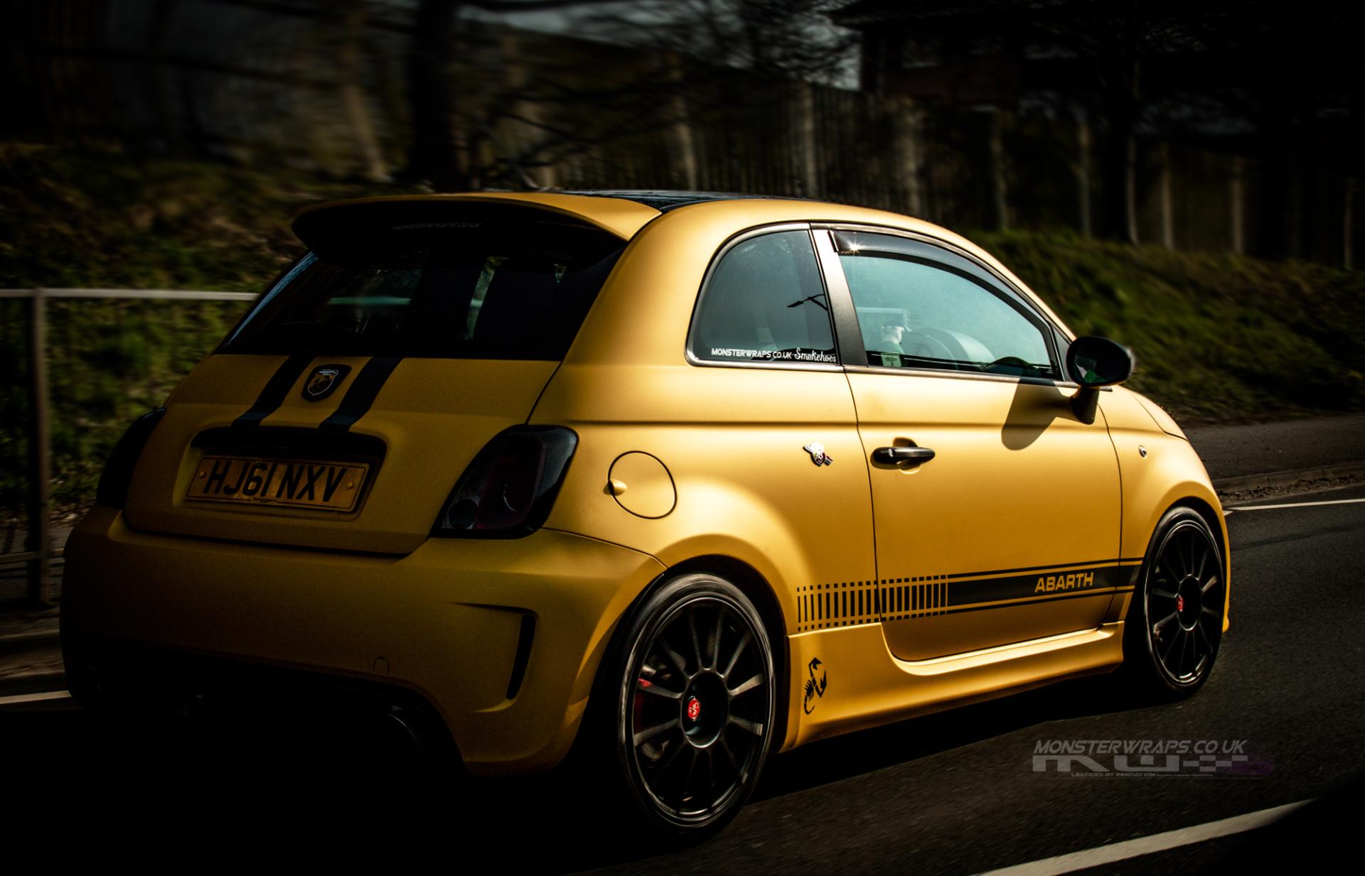 Fiat Abarth Matte Metallic Yellow Full Wrap Monsterwraps