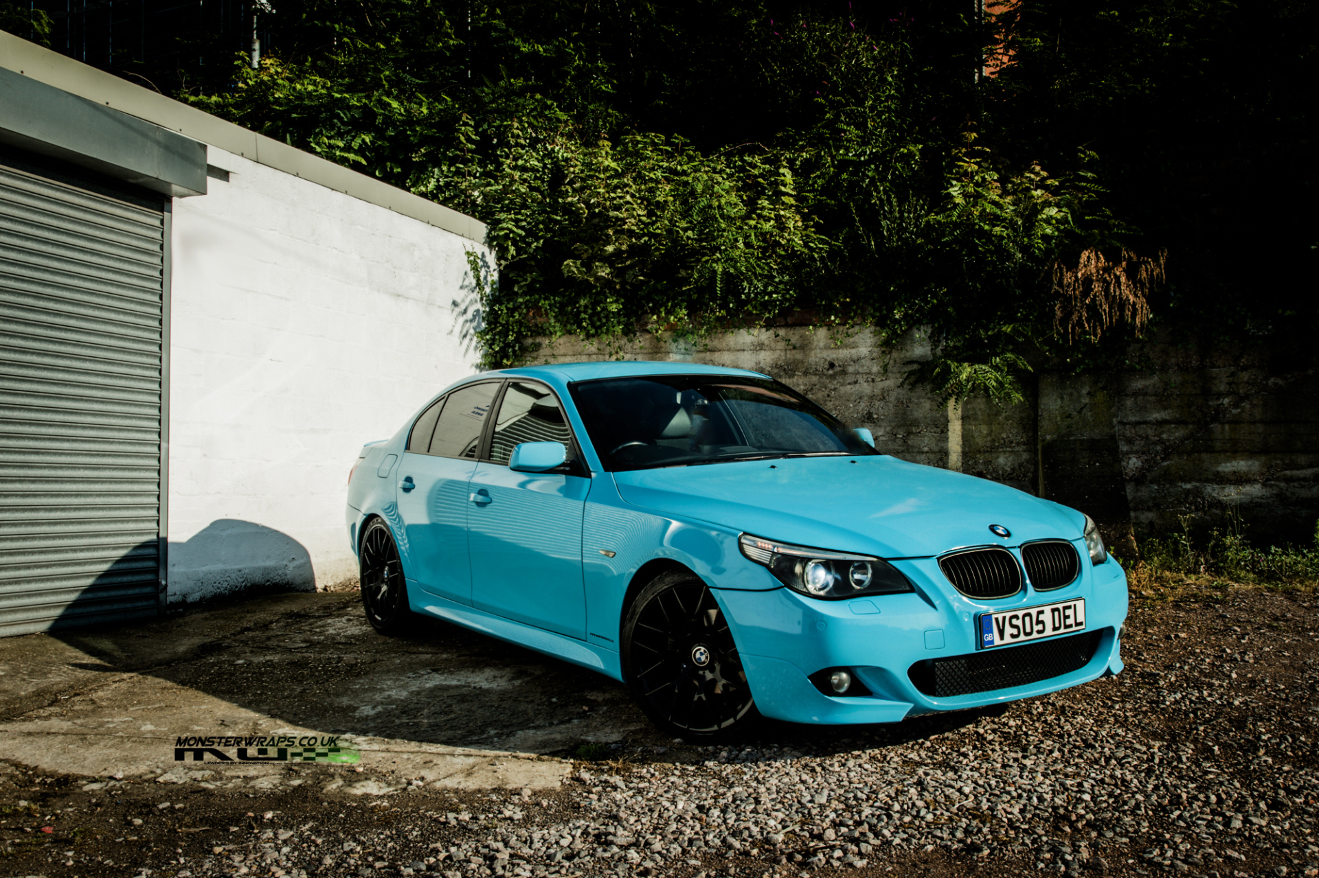bmw e60 5 series gloss sky blue wrap monsterwraps southampton hampshire. Black Bedroom Furniture Sets. Home Design Ideas