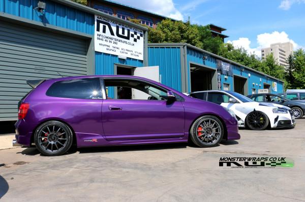 Honda Civic Type R Gloss Metallic Purple Wrap
