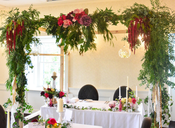 Dunbar house wedding, arbor styling, foliage on arbor, props hire, wedding flowers