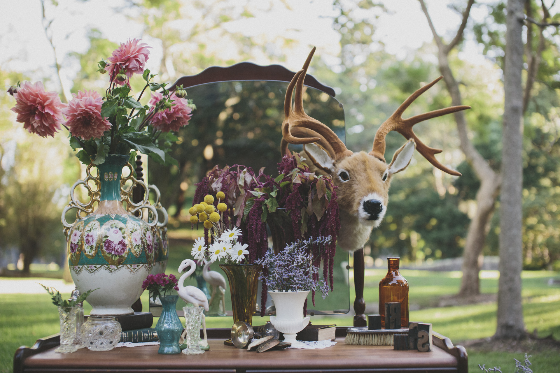 Dressing table decor and styling, vintage prop styling, deer head setting, vintage wedding styling kelvin estate wedding styling, kelvin estate