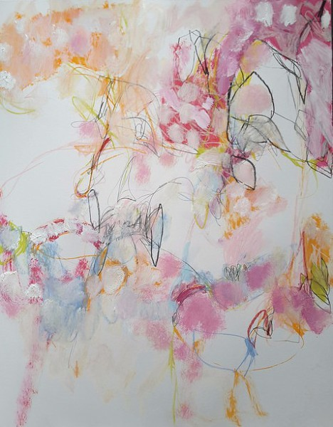 abstract,art,painting,mixed media, mary ann wakeley,cotton puffs,cherry blossom,pink,orange,