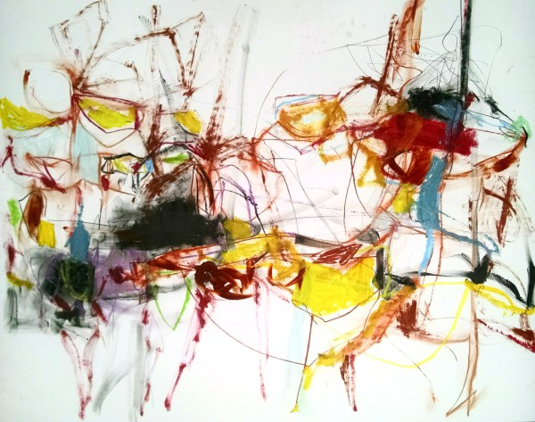 abstract,art,painting,mixed media,mary ann wakeley,spider,black,yellow,red,lines,color