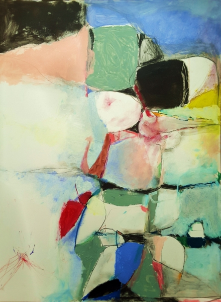 abstract,art,painting,mixed media, mary ann wakeley,blue,green,red,pink,black