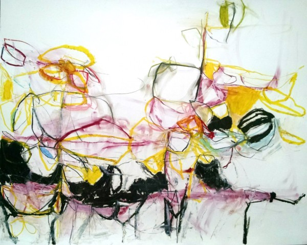 abstract,art,painting,mixed media,black,red,green,yellow,pink,colorful,color