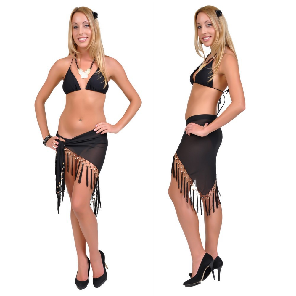 Sheer Black Mini Triangle Sarong Beach Wrap