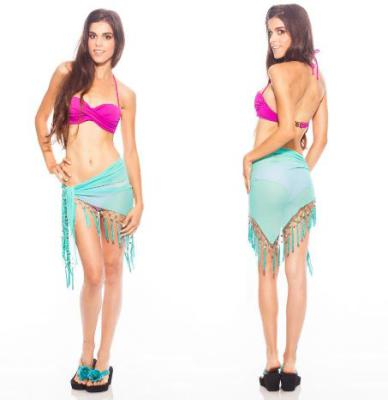 Sexy Sheer Turquoise Mini Triangle Sarong Beach Wrap