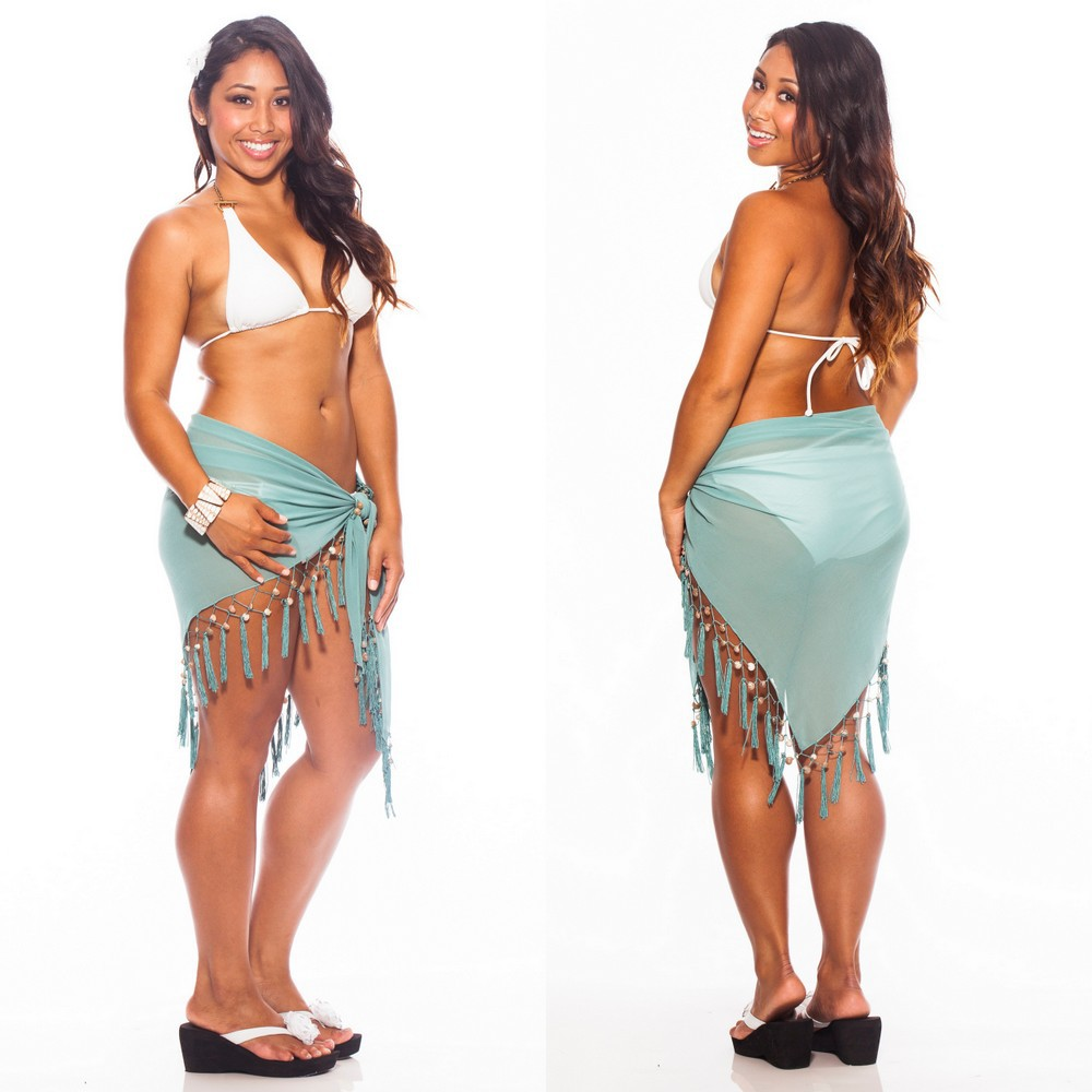 Sexy Sheer Aqua Pearl Mini Triangle Sarong Beach Wrap
