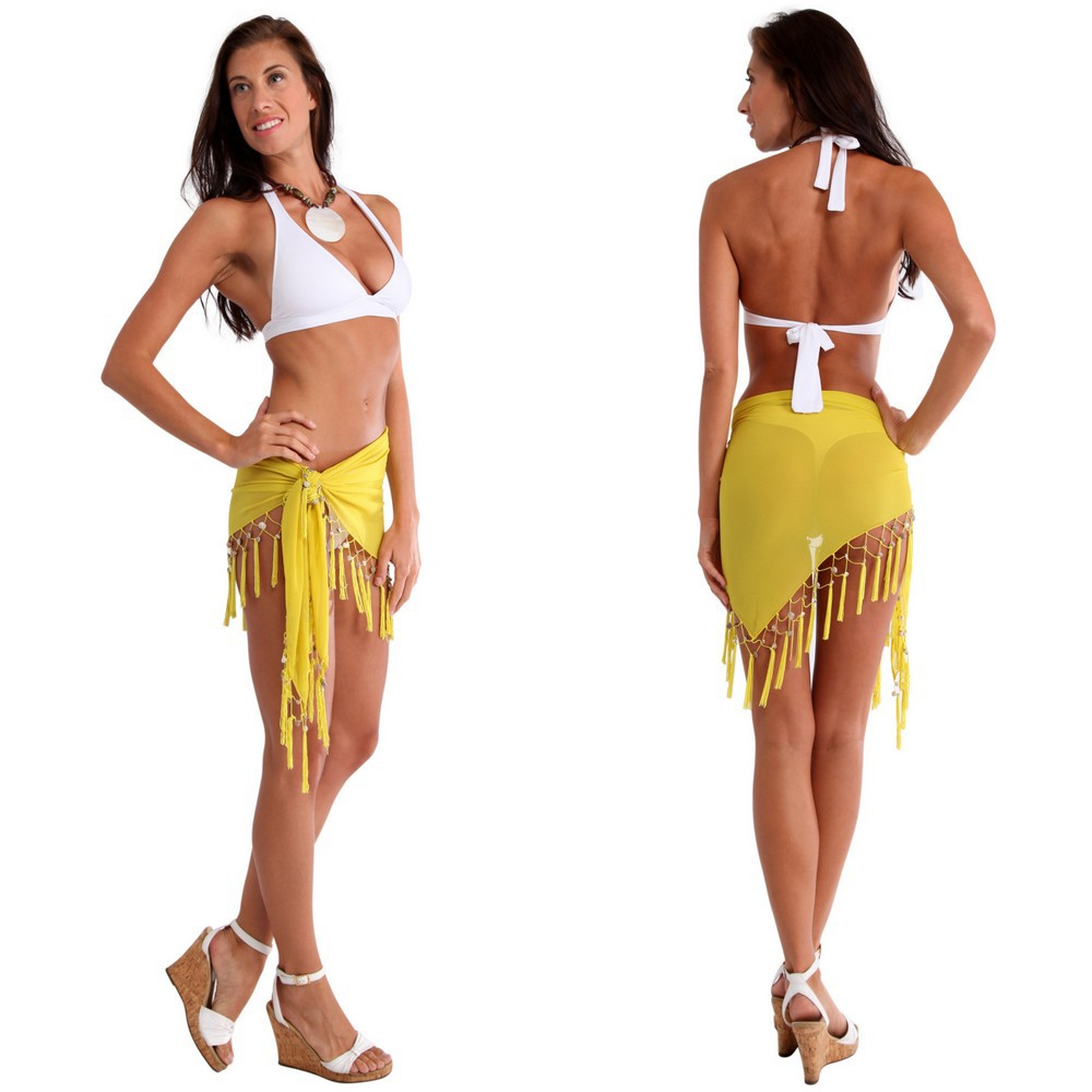 Sexy Sheer Yellow Mini Triangle Sarong Beach Wrap