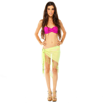 Sexy Sheer Lime Green Mini Triangle Sarong Beach Wrap