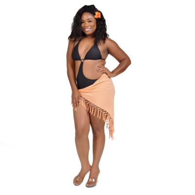 Sexy Sheer Orange Mini Triangle Sarong Beach Wrap