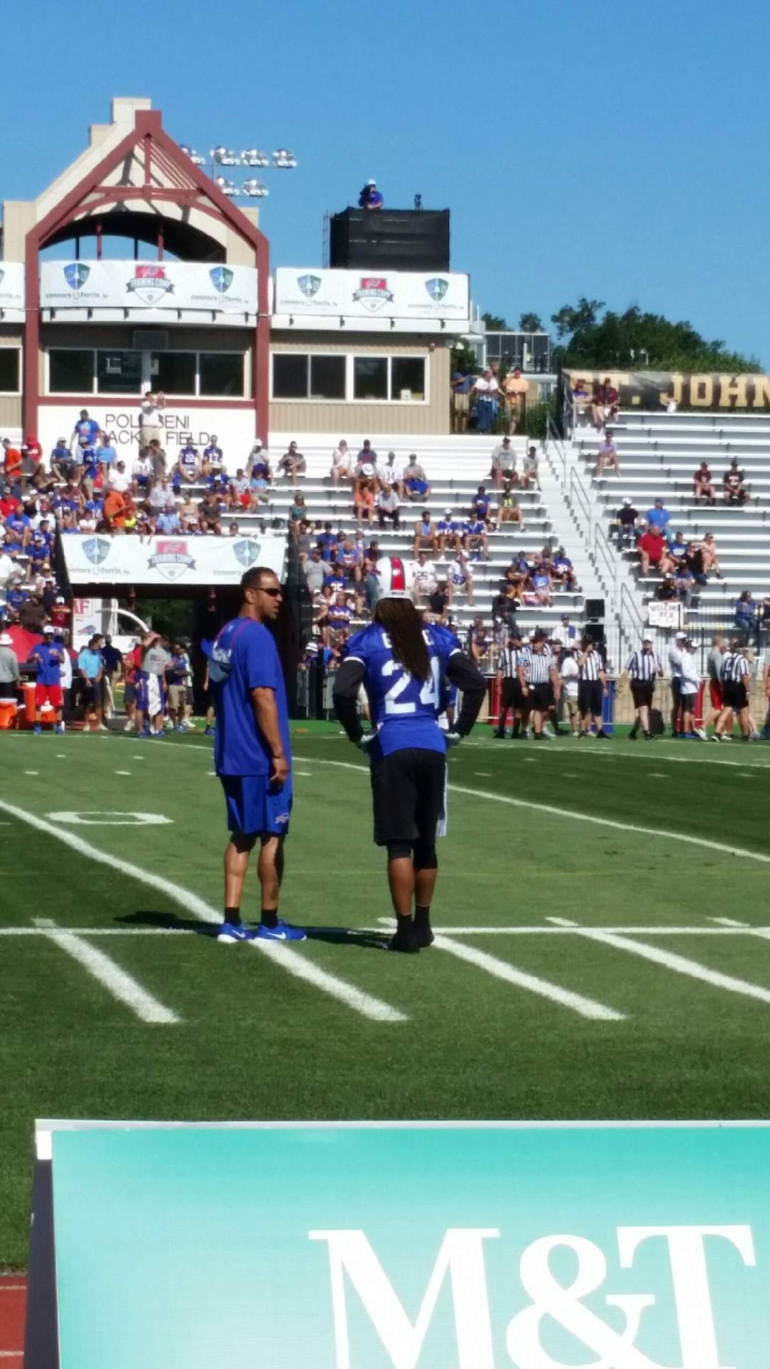 Andre Reed and Stephon Gilmore at 2015 Training Camp