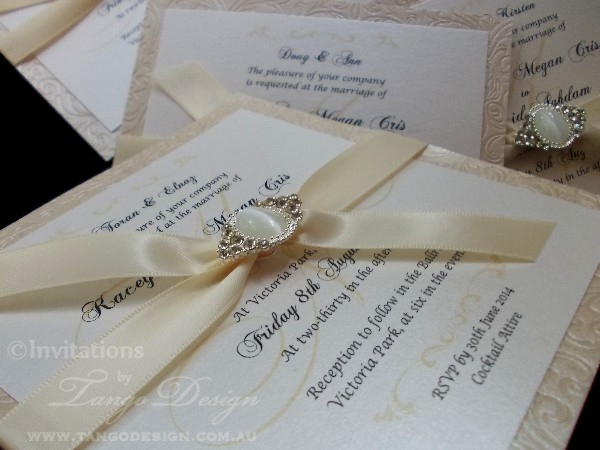 Champagne embossed wedding invitations