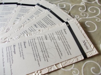 menu cards wedding tables