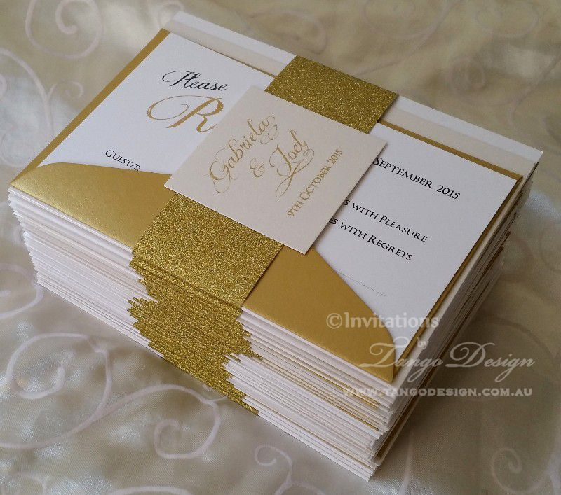 Gold glitter wedding invites