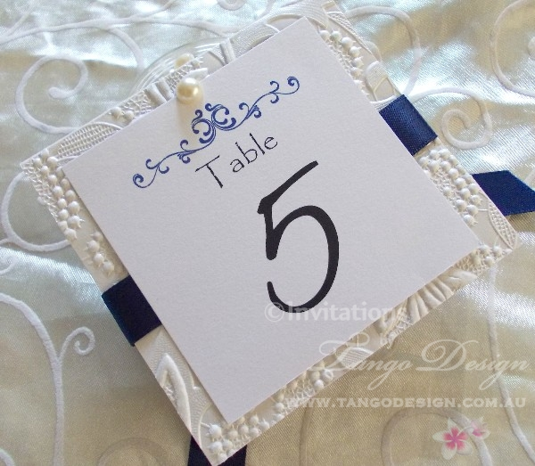 Table numbers crafted blue