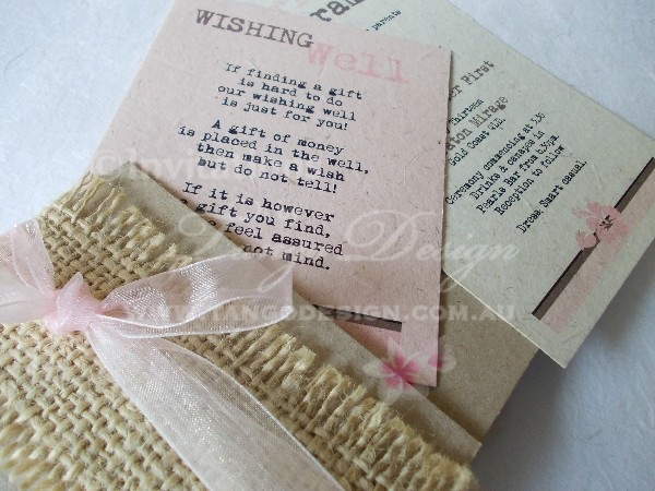 shabby chic hessian wedding invitations