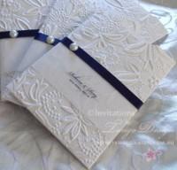 Embossed Invitations navy blue