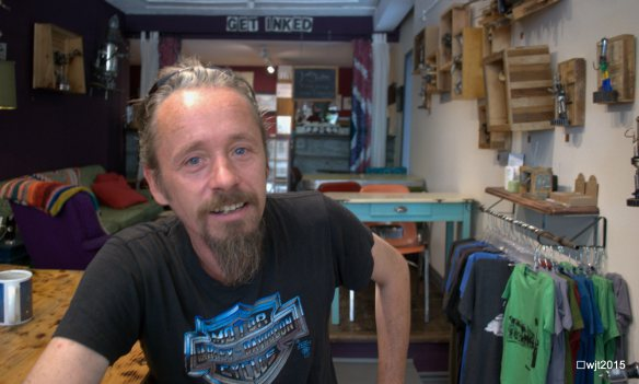 Iner Souster at Jinks Tattoos & Coffee, Queen St.W. Parkdale Toronto, August 29, 2015