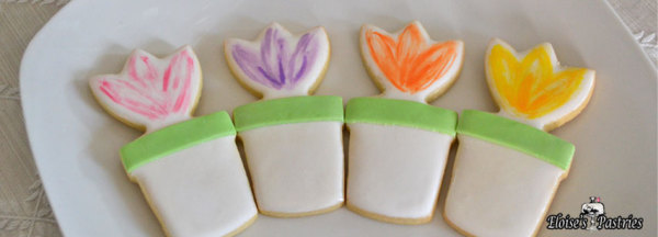 flower cookies, flower pot cookies, spring treats