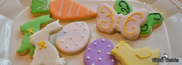 spring cookies, bunny cookies, butterflies, easter eggs, spring desserts, easter favors