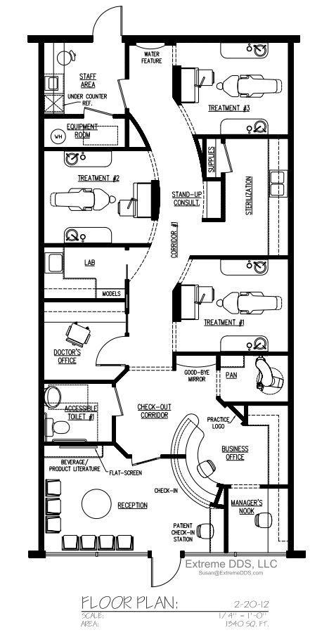 Family and general dentistry floor plans for Dental office design 1000 square feet