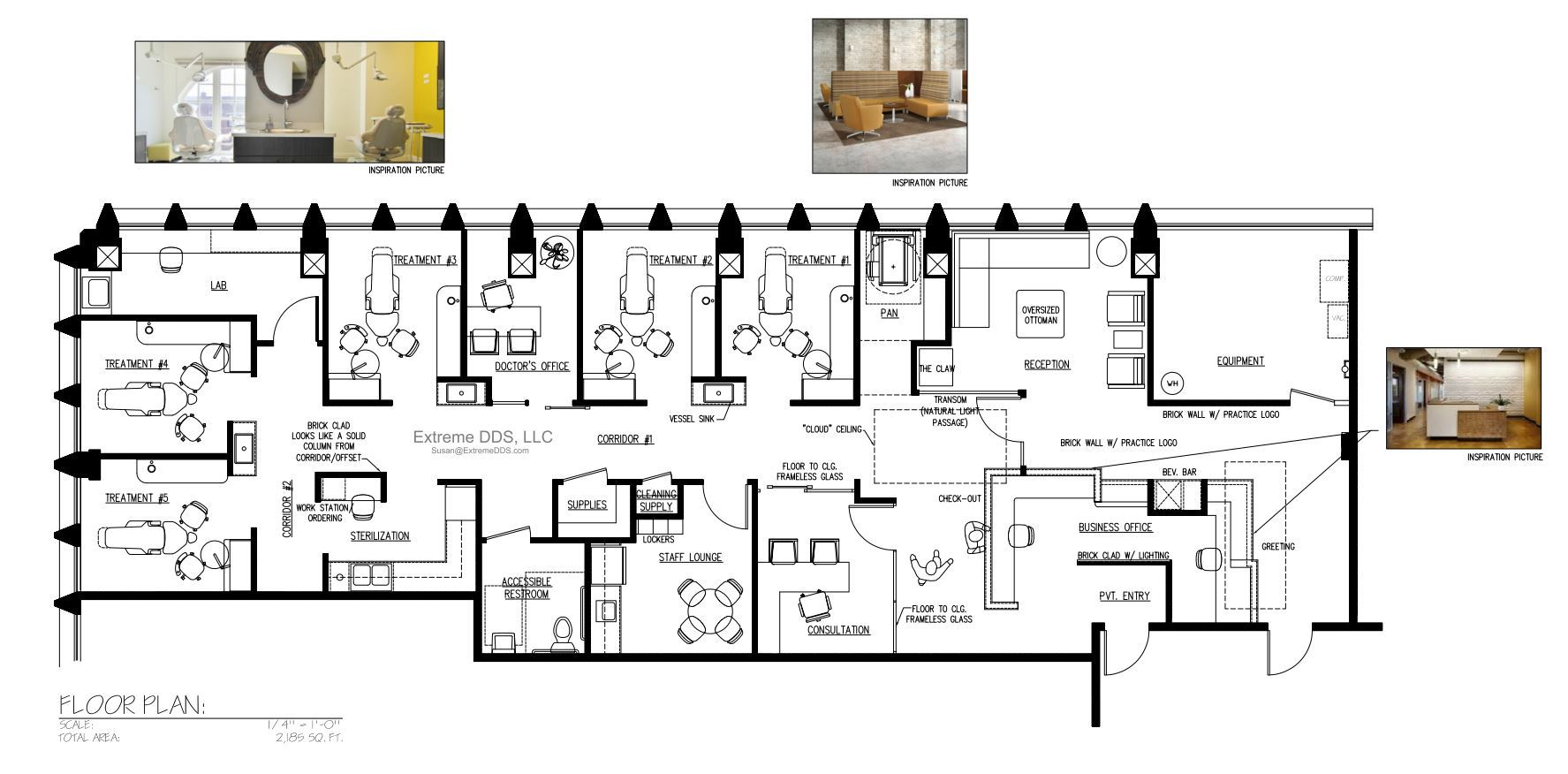 Cosmetic and specialty floor plans for Dental office design 1000 square feet