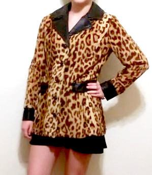 Vintage women's leather and leopard fur jacket