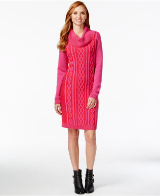 Tommy Hilfiger Cowl-Neck Cable-Knit Sweater Dress $15.99 w/ Code @ Macy's