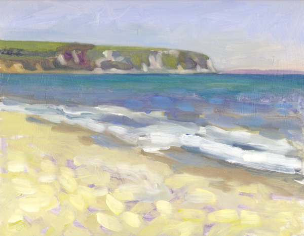 Swanage Beach oil painting