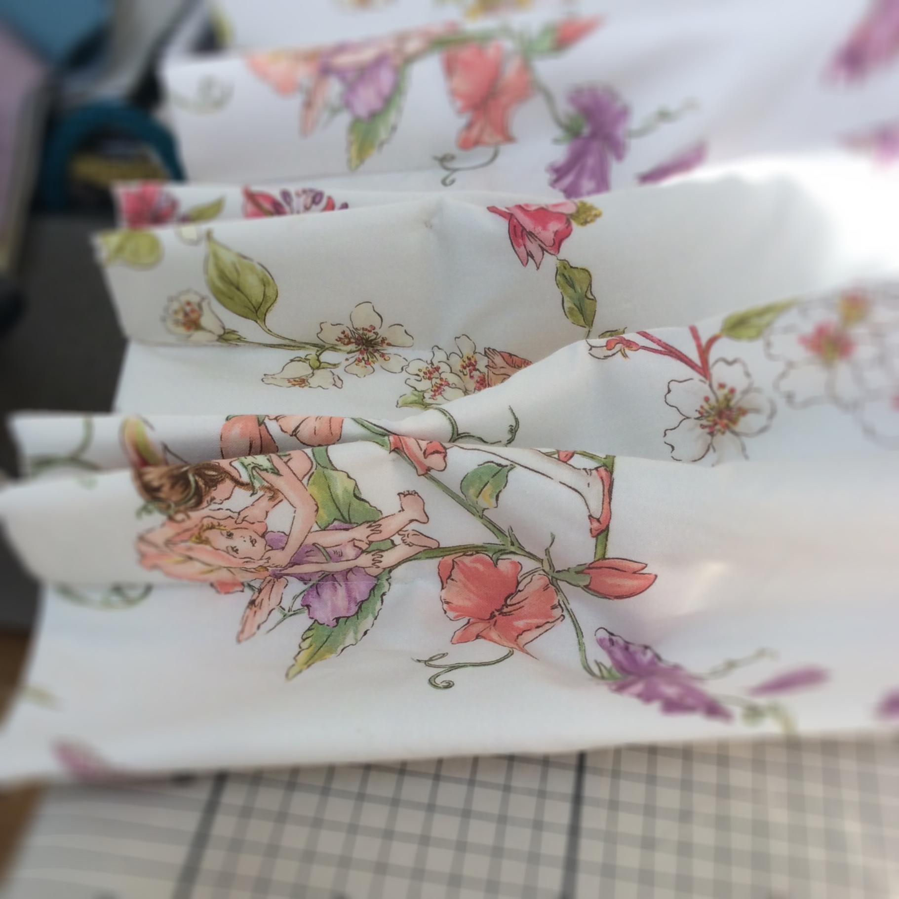French pleats in Flower Fairy fabric