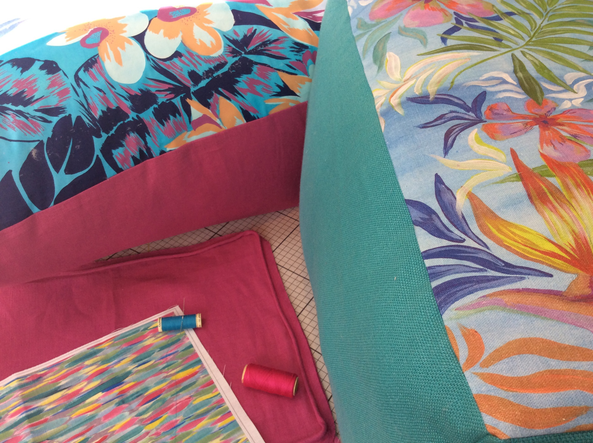 Garden cushions on bespoke fabric, Hampton
